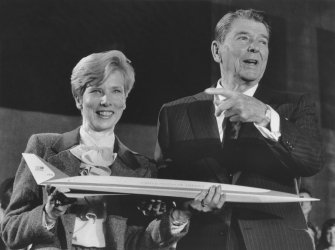 President Reagan with Teacher-in-Space Competition Finalist