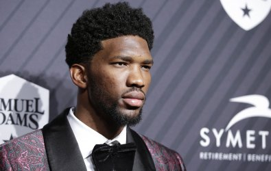 Joel Embiid arrives at SI Sportsperson of the Year