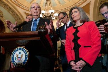 Senators speak to press before policy luncheon