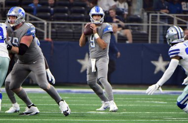 Detroit Lions Matthew Stafford looks to throw against the Dallas Cowboys