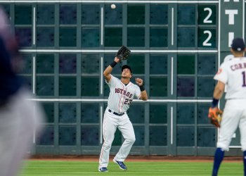Astros' Michael Brantley catches a fly ball