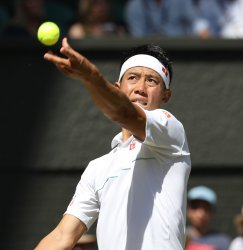 Kei Nishikori in second round action against Cameron Norrie