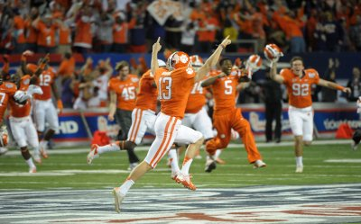 Clemson plays LSU in the annual Chick-fil-A Bowl game in Atlanta