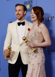 Ryan Gosling and Emma Stone win best actor and actress awards at the 74th annual Golden Globe Awards in Beverly Hills
