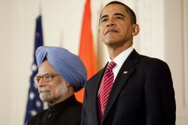 President Obama greets Indian PM Singh in Washington