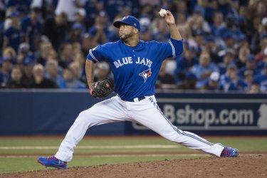 Toronto Blue Jays picther Francisco Liriano pitches