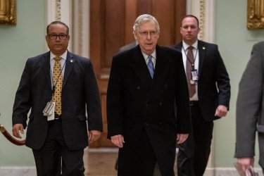 McConnell walks to office During Impeachment On Capitol Hil