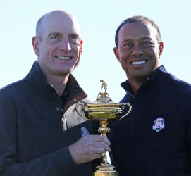 Jim Furyk and Tiger Woods attend the Team USA photo session at the Ryder Cup 2018