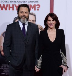 """Megan Mullally and Nick Offerman attend the """"Why Him?"""" premiere in Los Angeles"""