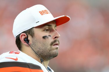 Browns Mayfield watches from the sideline against Redskins