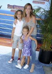 "Kendra Wilkinson, son Hank Baskett and daughter Alijah Mary Baskett attend the ""Hotel Transylvania 3: Summer Vacation"" premiere in Los Angeles"