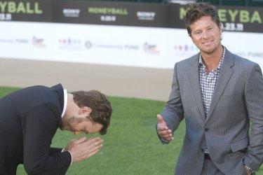 "Chris Pratt and Scott Hatteberg arrive at the premiere of ""Moneyball"" in Oakland, California"