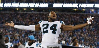 Carolina Panthers cornerback Josh Norman celebrates winning NFC Championship