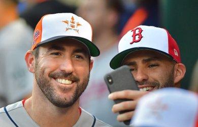 Astros' Justin Verlander smiles during MLB's All-Star Game in Washington, DC