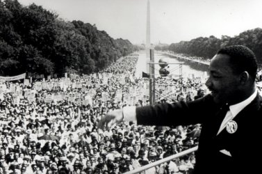 "The Rev. Martin Luther King Jr. delivers his famed ""I Have  Dream"" speech"