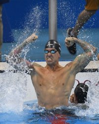 Anthony Ervin (USA) reacts after winning the Men's 50M Freestyle gold medal at the 2016 Rio Olympics