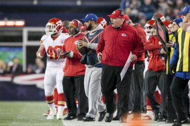 Chiefs head coach Reid reacts on sideline after fumble