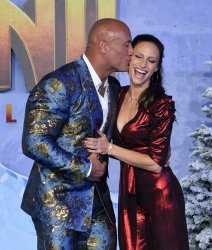 """Dwayne Johnson and Lauren Hashian attend the """"Jumanji: The Next Level"""" premiere in Los Angeles"""