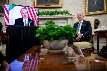 Biden Has Virtual Meeting with Irish PM Martint