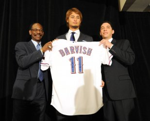 Texas Rangers introduce Japanese pitcher Yu Darvish in Arlington, TX.
