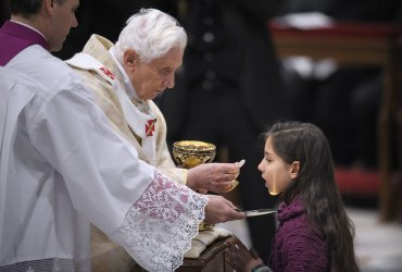 Pope Benedict XVI leads the mass in Solemnity of the Chair of St Peter in the Vatican