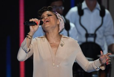 Singer Andra Day performing at the DNC convention in Philadelphia