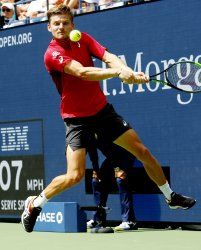 David Goffin returns the ball at the US Open