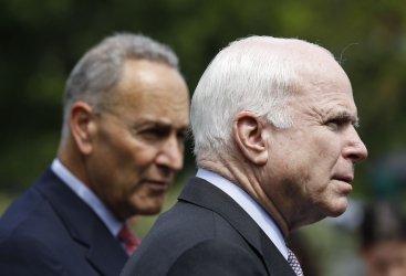 Senator McCain and Senator Schumer speak to media at the White House