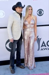 Jason Aldean and Brittany Kerr attend the 52nd annual Academy of Country Music Awards in Las Vegas