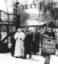 Pope John Paul II enters the gates of Auschwitz's concentration camp