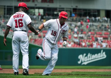 Nationals' Laynce Nix is congratulated after hitting a solo homerun in Washington.