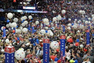 Trump and Pence families face balloon drop at the RNC in Cleveland