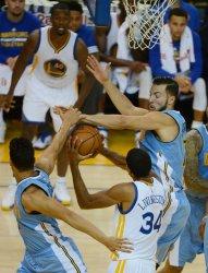 Denver Nuggets JJ Hickson blocks a shot