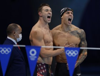 USA's Murphy and Dressel celebrate World Record 3:26.78 in the Men's 4 X 100 Medley Relay Final
