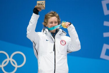 Men's slopestyle snowboard medal ceremony at the Pyeongchang 2018 Winter Olympics