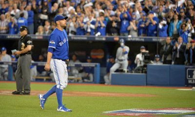 Blue Jays starter Estrada walks to dugout to standing ovation after being relieved in eighth inning