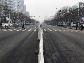 The streets remain eerily empty in Beijing, China