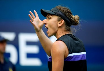 Simona Halep reacts at the US Open