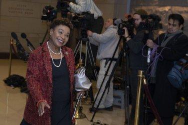 Rep. Barbara Lee arrives at a Democratic caucus meeting