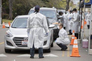 Coronavirus drive-up screening in Hayward, California