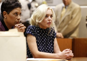 Lindsay Lohan appears on a probation violation at the Airport Courthouse in Los Angeles