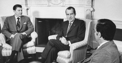 Pres. Nixon meets with Governors Ronald Reagan and Daniel Evans