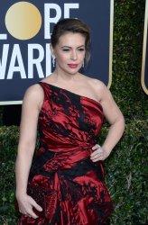 Alyssa Milano attends Golden Globe Awards