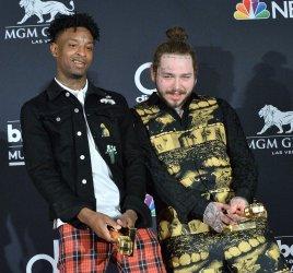 21 Savage and Post Malone win the Top Rap Song award at the 2018 Billboard Music Awards in Las Vegas, Nevada