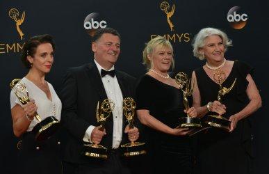 Amanda Abbington, Steven Moffat, Sue Vertue and Rebecca Eaton win an award at the 68th Primetime Emmy Awards in Los Angeles