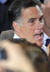 Mitt Romney after he speaks in Mesa, Arizona