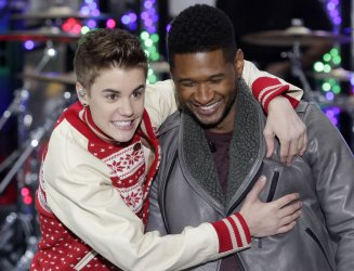 """Justin Bieber and Usher on NBC's """"Today"""" Show at Rockefeller Center in New York"""