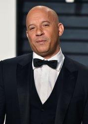 Vin Diesel arrives for the Vanity Fair Oscar Party in Beverly Hills