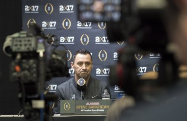 Alabama's Steve Sarkisian participate in Media Day for the National Championship