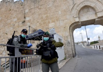 Israeli Border Police Wear Gloves And Mask At Dung Gate, Jerusalem